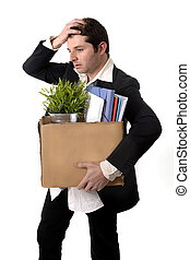 Messy Business Man with cardboard box Fired from Job - ...