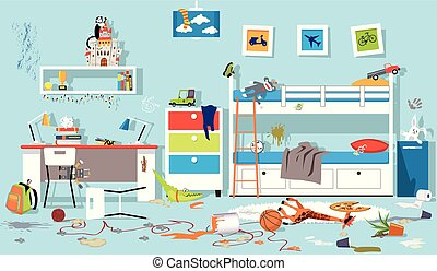 Messy children bedroom