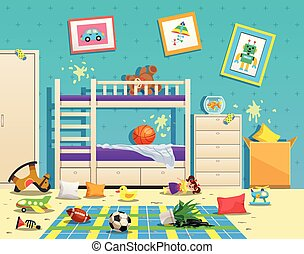 Messy children room interior with dirty stains on wall and scattered toys on floor flat vector illustration