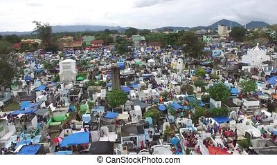 Messy city public cemetery. Drone Aerial Shot - All Saint's...