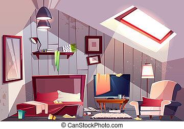 Messy garret bedroom cartoon illustration