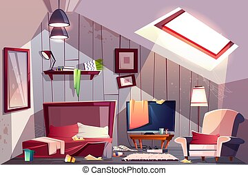 Messy garret bedroom cartoon vector illustration