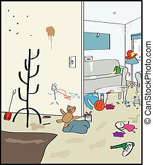 An drawing of the interior of a very messy living room and porch.