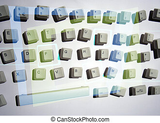 messy keyboard - keys from a computer keyboard arranged in a...