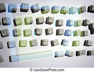 messy keyboard - keys from a computer keyboard arranged in a...