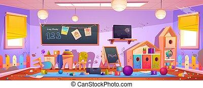Messy kids room interior in kindergarten