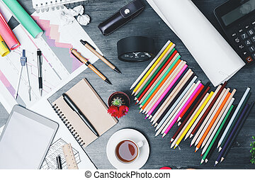 Messy office desk top
