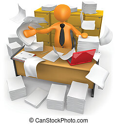 Messy Office - Businessman trying to make some space on his...