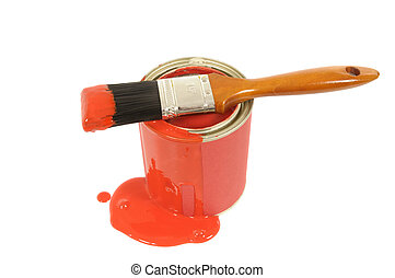 Messy red paint tin