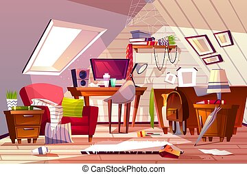 Messy room at garret attic vector illustration