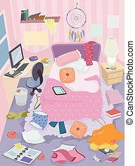 Messy Room Girl Illustration