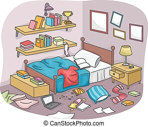 Messy Room - Illustration of a Disorganized Room Littered...
