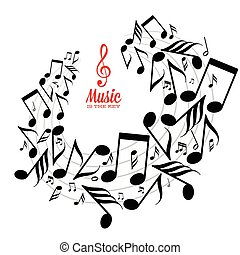 Messy scattered music notes on stave - Card with circle of...