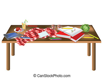 messy table isolated on a white background