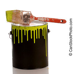 messy yellow paint can with paint on white background