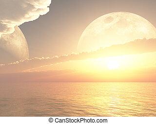 messze, bolygó, gyönyörű, el, napkelte, vagy, napnyugta