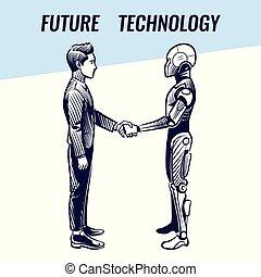 mesterséges intelligencia, concept., emberi, és, robot, handshaking., futuristic, ai, haladó technology, vektor, háttér