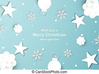 mestiere, carta, fondo, decorazione, snowflake., taglio, natale, blu