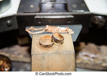 mestiere, lavorativo, jewelery, fabbricazione, scrivania