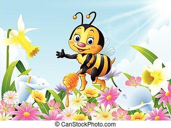mestolo miele, cartone animato, presa a terra, ape