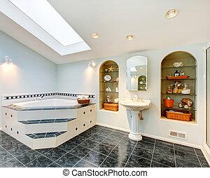 mestre, banheiro, com, mármore azul, assoalho telha, e, canto, banho, tub.