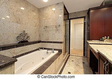 mestre, banho, com, mármore, banheira