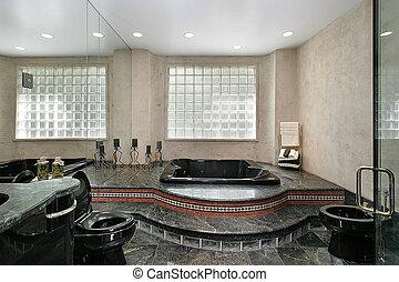 mestre, banho, com, mármore preto