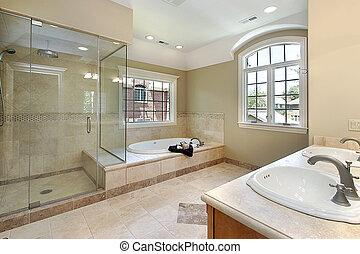 mestre, banho, com, vidro, chuveiro