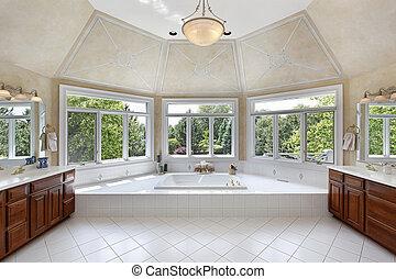 mestre, banho, com, windowed, banheira, área