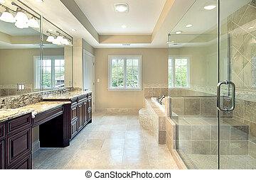 mestre, banho, em, novo, construção, lar