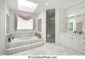mestre, banho, em, repouso luxuoso
