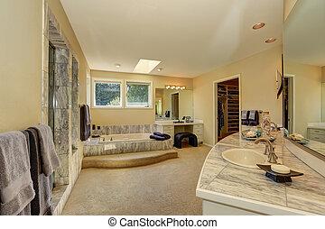 mestre, mármore, banheiro, interior, com, walk-in, armário