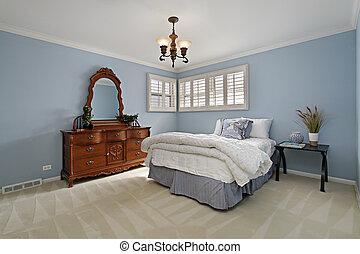 mestre, quarto, com, ilumine azul, paredes