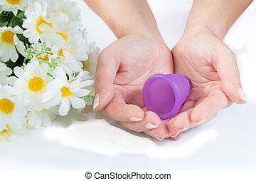 mestruale, flowers., mani, tazza