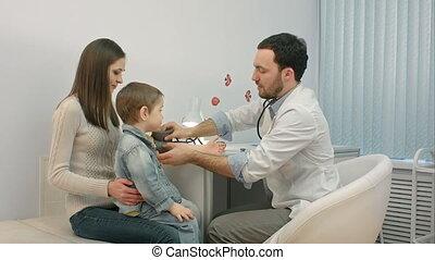 mesurant salle, docteur, pression, examen, sanguine, enfant