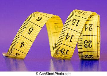 mesure, gros plan, bande, jaune