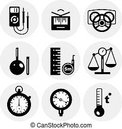mesure, vecteur, noir, icônes