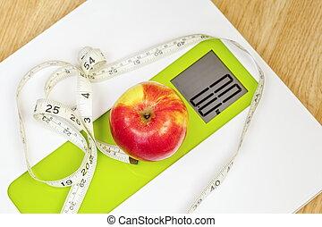 mesurer, échelle, pomme, haut, bande, numérique, fin