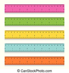 mesurer, école, ensemble, pouces, multicolore, règles, centimètres