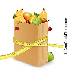 mesurer, épicerie, concept, légumes, sac papier, vecteur, diet., frais, tape.