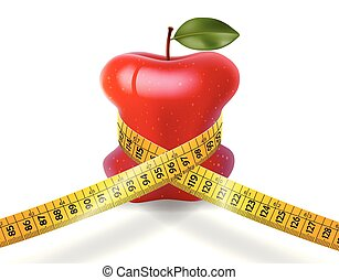 mesurer, être régime, concept, pomme, bande, fond, blanc rouge