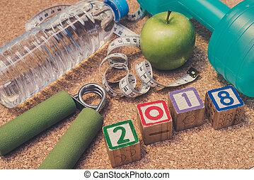 mesurer, année, nouveau, pomme, sain, fitness, eau, dumbell, -, manger, &, poser, main, plat, 2018., bande, prise, minéral, concept., heureux, frais