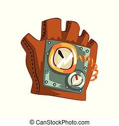 mesurer, antiquité, mécanisme, cuir, steampunk, illustration, vecteur, gant, fond, blanc, appareils