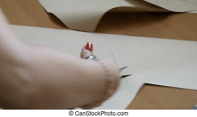 mesurer, concepteur, elle, fonctionnement, couture, jeune, matériels, textile modèle, découpage, textile., femme, concevoir, confection, salle exposition, clothing., mode