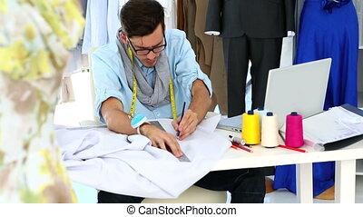 mesurer, concepteur, feuille, tissu