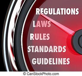 mesurer, conformité, règle, règlements, jauge, droit & loi, compteur vitesse