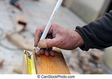 mesurer, constructeur, bois