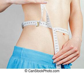 mesurer, corps, femme