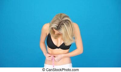 mesurer, corps, femme, elle, sexy, blond