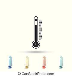 mesurer, couleur balance, soleil, isolé, icons., froid, arrière-plan., chaleur, ensemble, vecteur, illustration, thermomètre, snowflake blanc, éléments, icône